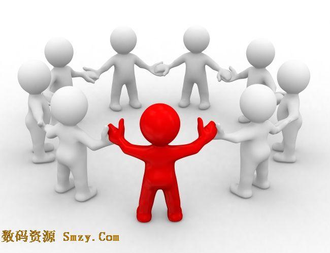 3d红色小人核心与白色团队合作高清图片
