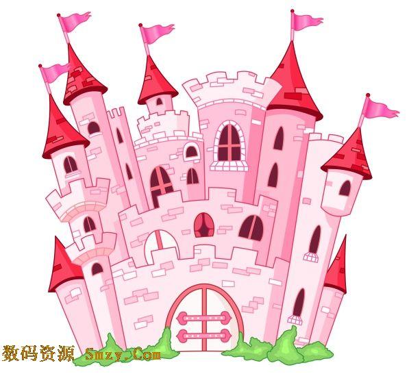 小编献上 卡通粉红色童话公主城堡矢量素材,简约欧式粉色城堡建筑