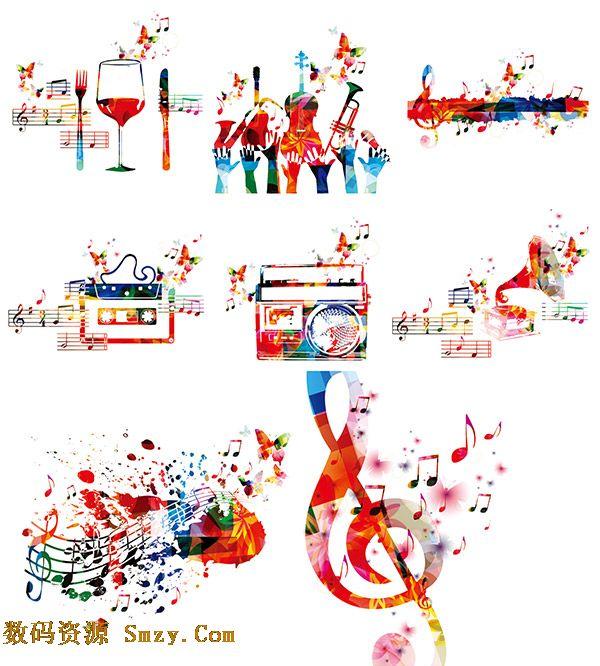 时尚炫彩音乐主题乐器音符图案矢量素材