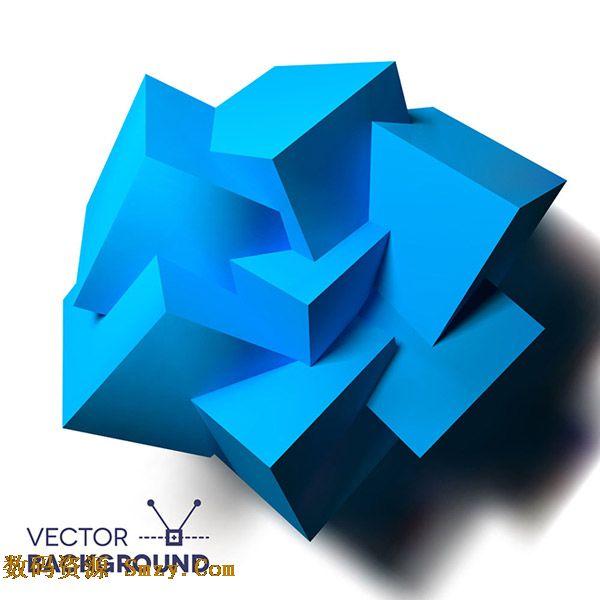 創意3d立體幾何不規則多邊形圖形矢量素材