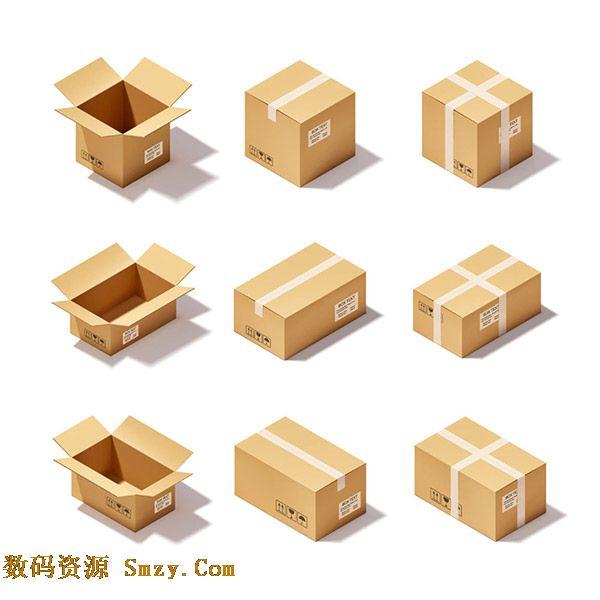 长方体和正方体的纸盒-卡通立方体纸箱设计图标素材下载图片