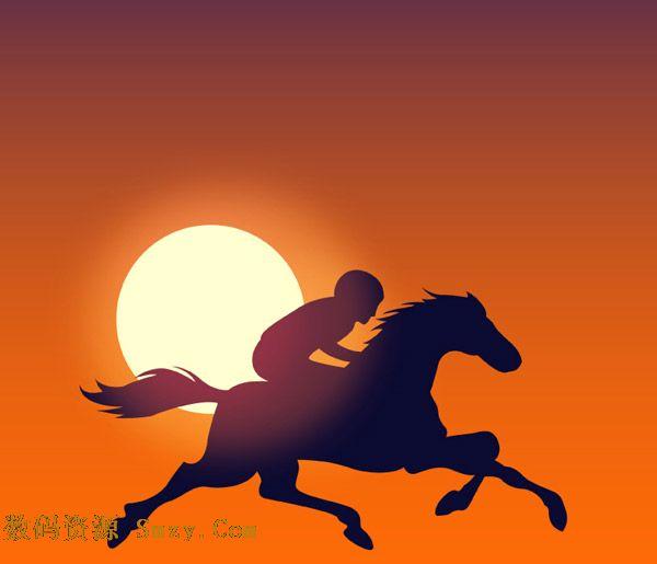 夕阳下的骑手人物剪影矢量素材展示的就是一种背景,骑手在夕阳的背景
