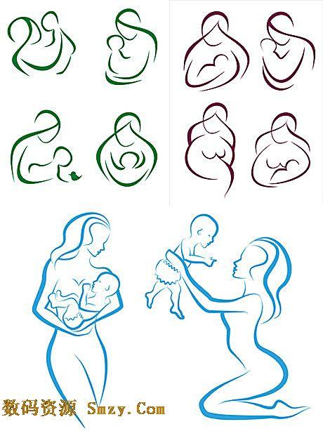 母亲节线描抱婴儿的母亲矢量素材下载图片