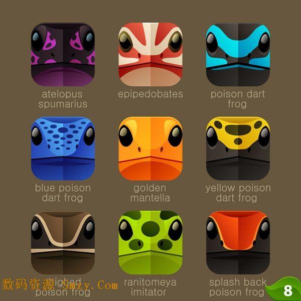 手机变色龙动物脸谱图标素材