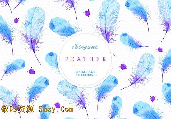 羽毛素材|蓝色水彩羽毛文本背景矢量素材下载