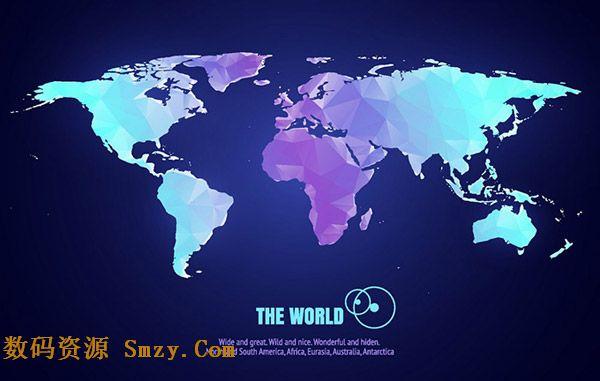 世界地图矢量图|几何图形拼接彩色世界地图矢量素材