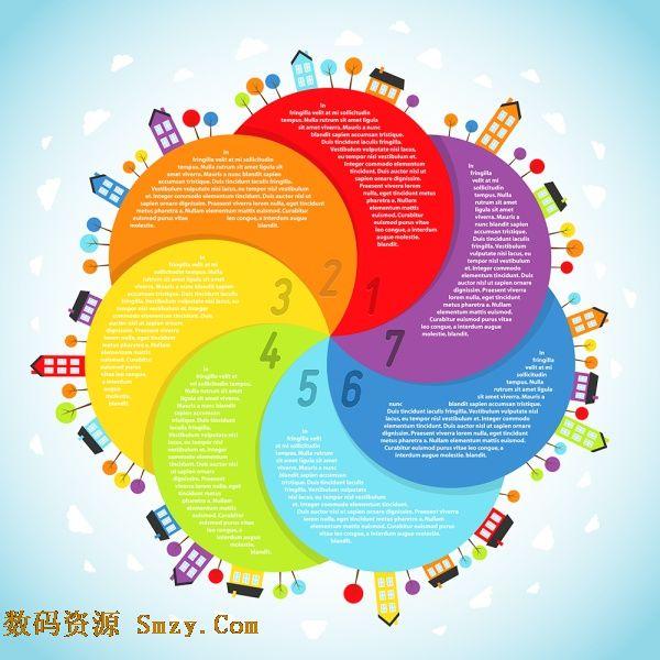 标签花瓣素材 彩色螺旋花瓣数字分类标签矢量素材下载图片