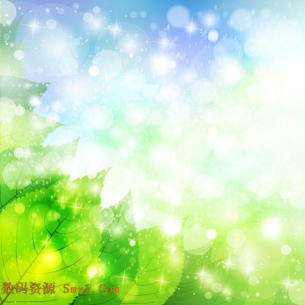 绿色清新背景素材|绿叶光晕小清新背景矢量素材下载