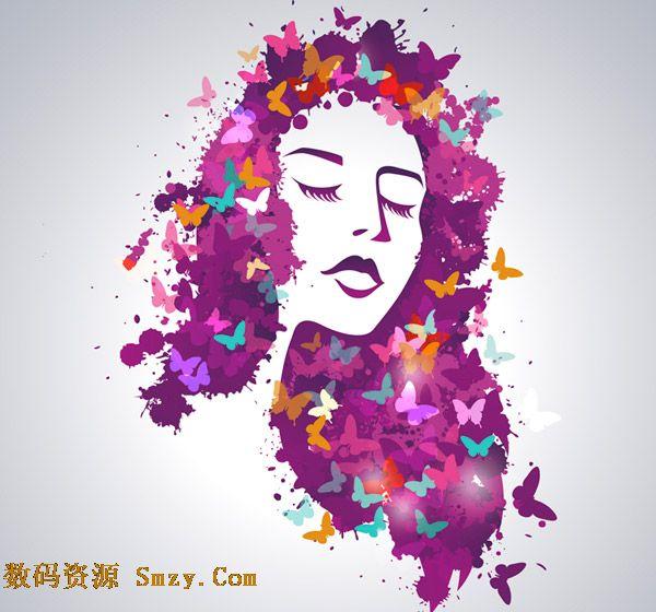 长发女生头像|创意潮流设计蝴蝶长发女郎矢量素材下载