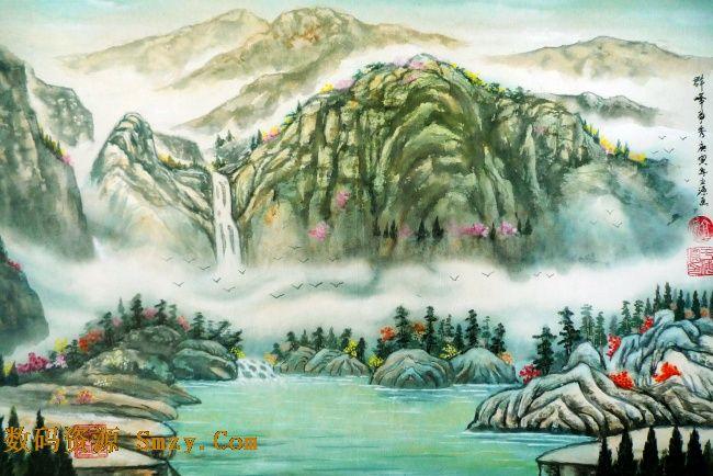 水彩画群峰争秀高清图片是最新的一张美术作品