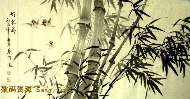 水墨素材图片 中国风水墨竹林幽绘画高清图片下载 2616x1372
