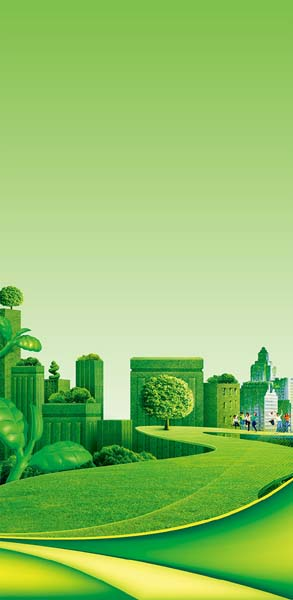 学校展板背景素材|清新学校绿色建筑远景展板设计矢量