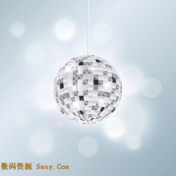 银色迪斯科球舞厅灯光背景矢量素材