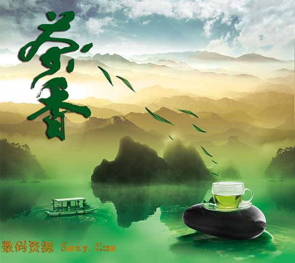 中国式风格背景设计茶香海报psd素材