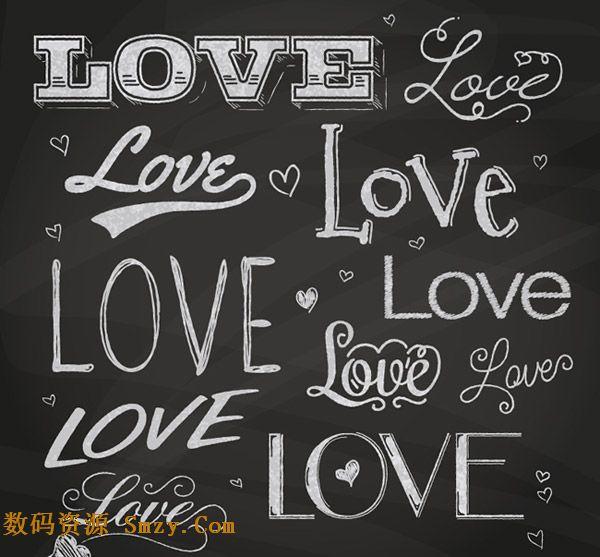 爱love英文手写艺术字体