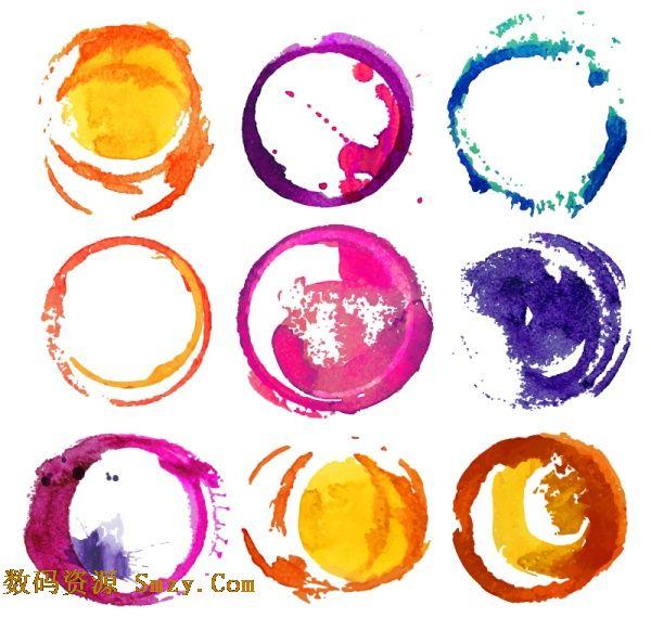 水彩绘画圆环设计矢量素材
