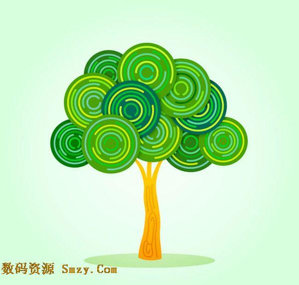 """树木是由""""枝""""和""""杆""""还有""""叶""""呈现的一种植物,直立的树干和茂盛的树冠是组成部分,在设计中数目可以是图案组合而来,绿色同心圆图案树木设计矢量素材展示的就是绿色线条为主的圆形图案重叠组成的树冠搭配树干成为树木,详细还请见JPG缩略图,欢迎下载!"""