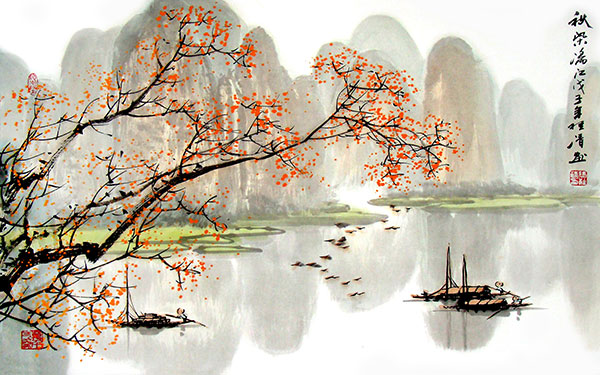古典传统桂林山水水墨画背景psd素材