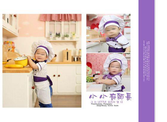 本张儿童摄影模板使用儿童照片三张,采用白色调作为本张儿童摄影模板背景的主色调,左边的那张竖版儿童照片是本张儿童摄影模板展示的重点, 照片中的小女孩身着厨师服装,站在厨房里,面带笑容,一双乌溜溜的眼睛侧看着前方,表情有点萌萌哒的,十分的可爱,右边则使用了两张方形儿童照片,同时加以艺术线条、 精美的艺术文字等元素所综合设计而成,类属于儿童摄影模板 我是小厨师系列中的第四张模板,详细效果请见下面的JPG缩略图。
