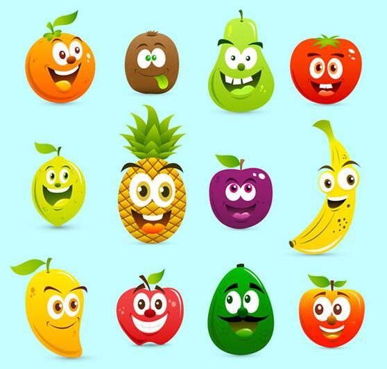 可爱卡通水果表情背景设计矢量素材