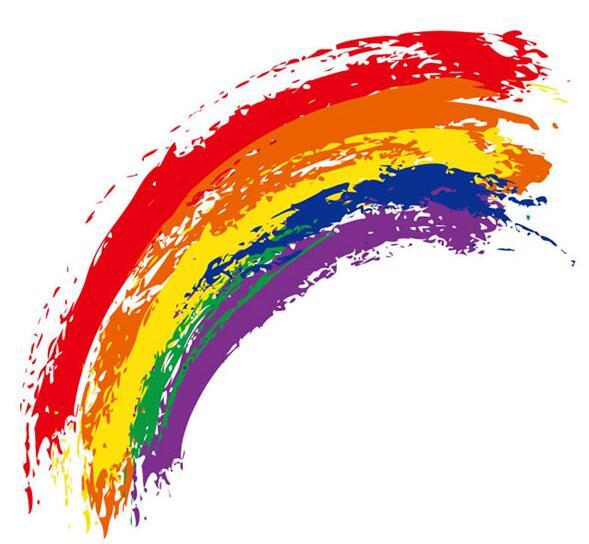 水彩涂鸦彩虹背景矢量素材