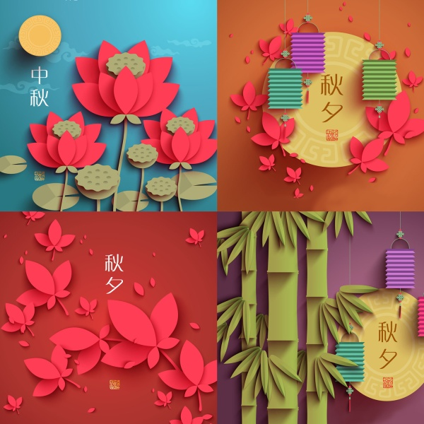 传统中秋贴纸插画图片矢量素材