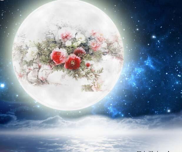 中秋节祝福圆月夜空背景高清图片