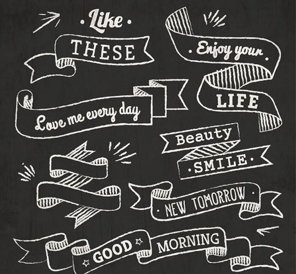 黑板粉笔画语言条幅简约背景矢量素材