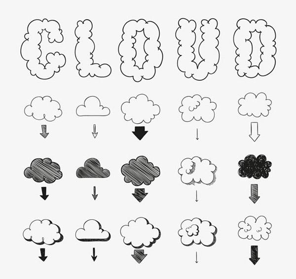 手绘云朵设计艺术字图案矢量素材