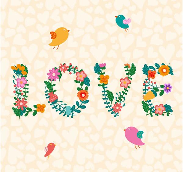 love卡通背景花卉组合矢量素材,心形无缝背景中鲜绿的花环和简约小鸟