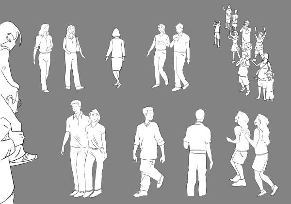 手绘人物图片|手绘简约行走中的人物背景矢量素材