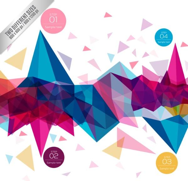 几何图形是很多科技背景中常用的设计元素,加上艳丽的颜色可以设计成