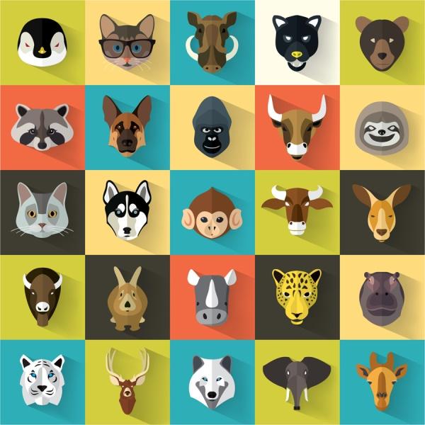 多种动物头像图标素材