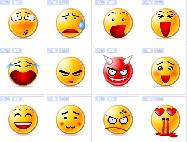 qq透明小黄脸表情图标素材
