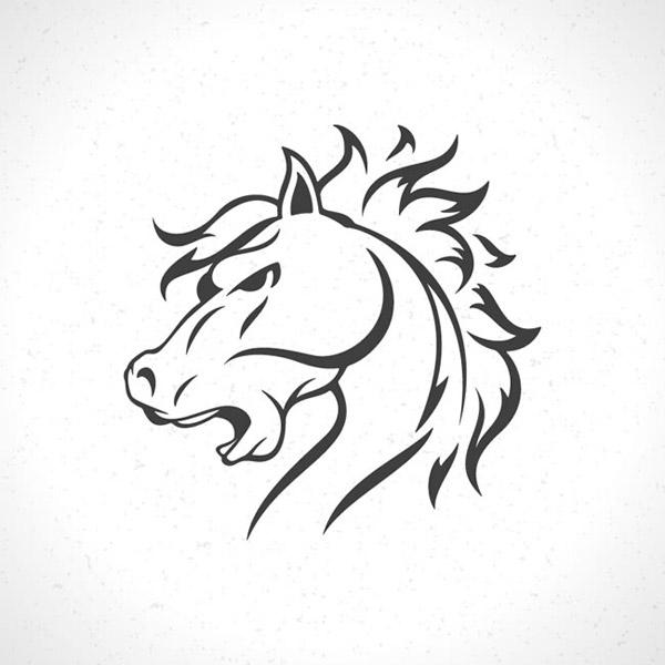 马头从字面理解就是动物马的头部,没错这张黑色马头标志设计矢量素材展示的就是线条手绘骏马的头部特写,张嘴咆哮的马将马鬃矗立,威严的形象可用作多种设计标志中,详细还请见JPG缩略图,喜欢的朋友可以点击下载收藏!