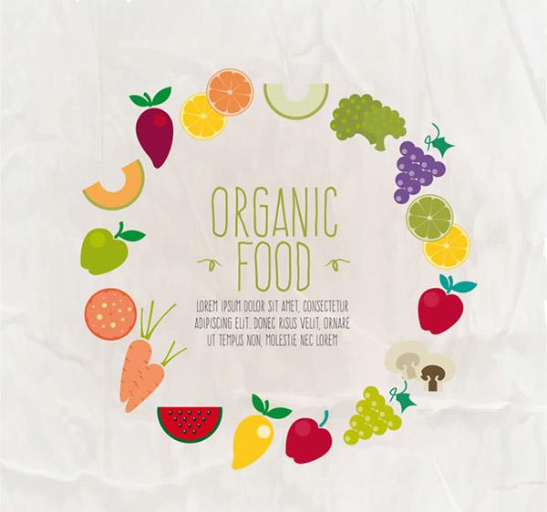 食物水果组合的圆环背景矢量素材