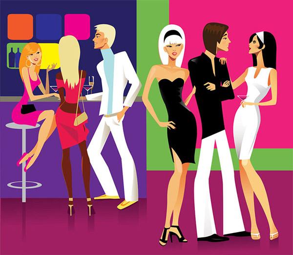 酒吧聚会时尚男女卡通插画矢量素材