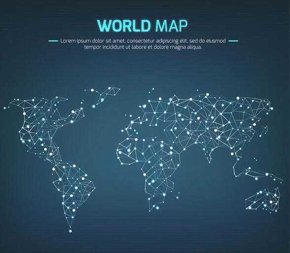 首页 资源下载 平面素材 矢量素材 设计 > 光点连线世界地图科技背景