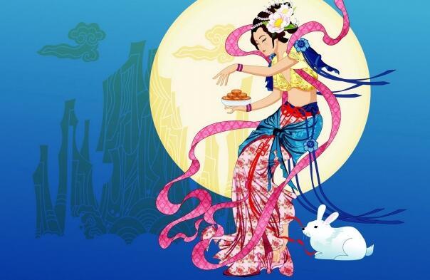 卡通中秋节嫦娥背景壁纸高清图片下载