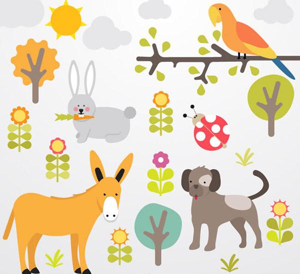 植物与动物卡通风格插画矢量素材