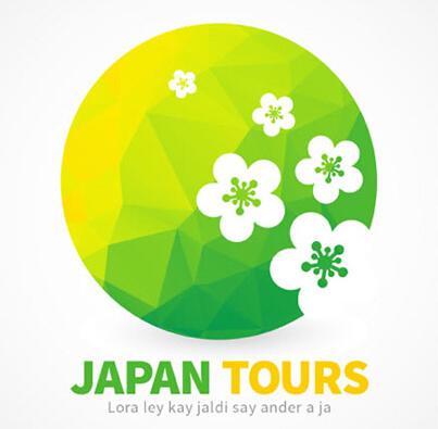 日本樱花旅行标志清新背景矢量素材