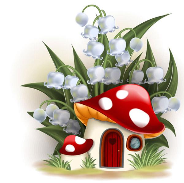 卡通植物蘑菇屋背景矢量素材,用植物花朵绿叶搭配蘑菇房子,清新背景