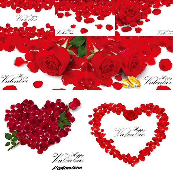 浪漫情人节玫瑰花瓣心形背景矢量素材