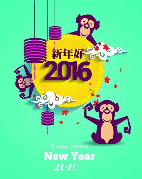 猴年新年好卡通插画背景设计矢量素材