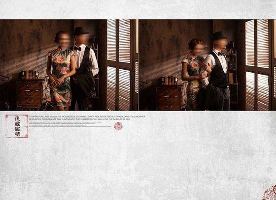 这是婚纱摄影模板 民国风情系列中的第二张模板,使用了两张横版年轻情侣合影的婚纱照片,采用灰白色调作为本张婚纱摄影模板的主背景色调,左边的那张婚纱照片,是本张婚纱摄影模板展现的重点,一对年轻男女站在窗前,向外眺望,两人露出幸福的笑容,十分的亲密,右边则使用了一张婚纱照片,同时搭配以印章、精美的艺术文字等元素所综合设计而成,带有一股民国初期的风情,效果还请见下面的JPG缩略图。