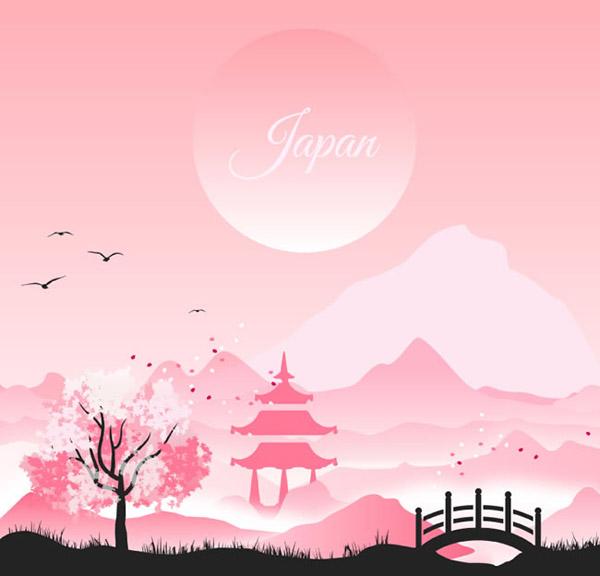 日式风格凉亭山水风景插画矢量素材