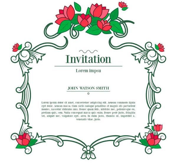 藤蔓花朵植物边框邀请卡设计矢量素材