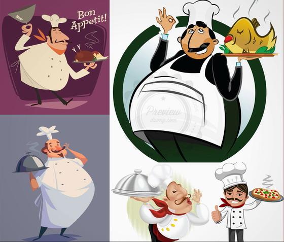 手端着美味食物的卡通厨师矢量素材