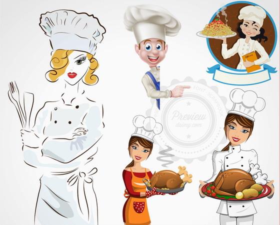 美味食物与卡通厨师人物等矢量素材