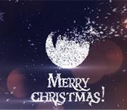 白色圣诞节雪花粒子LOGO文字AE模板
